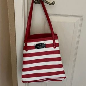 Kate Spade Red and White Striped Tote
